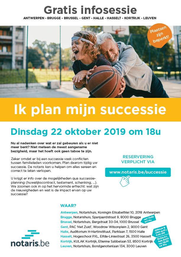'Ik plan mijn successie': gratis infosessie op dinsdag 22 oktober 2019